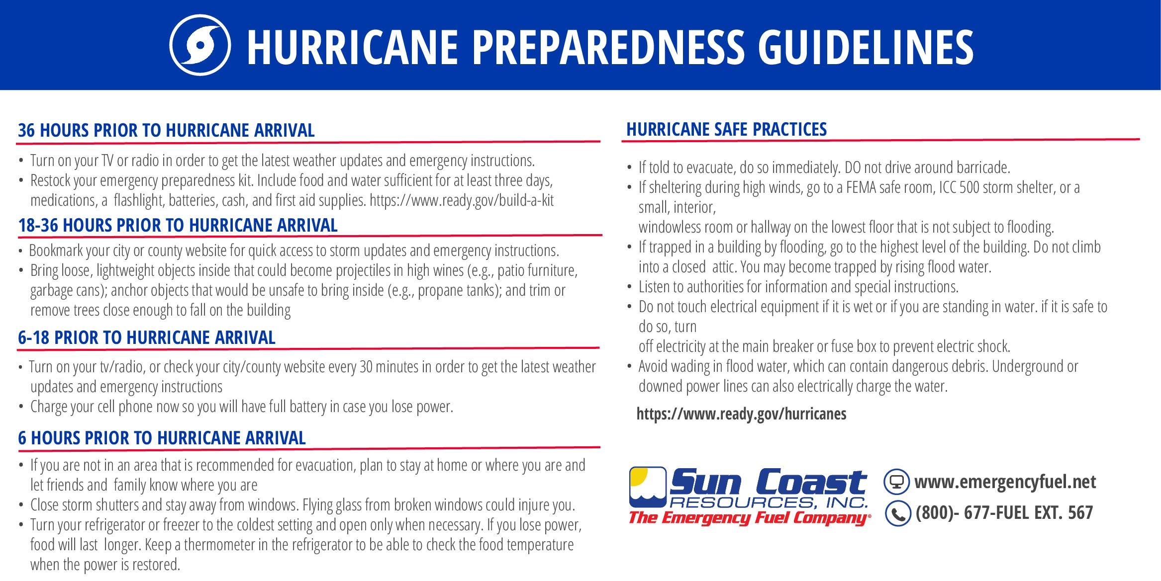 Hurricane preparedness guidelines